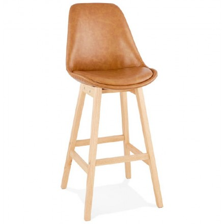 Tabouret de bar chaise de bar design DAIVY (marron clair)