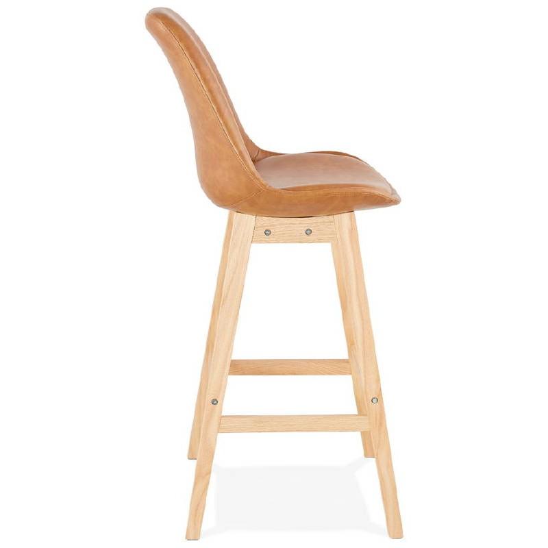 Tabouret de bar chaise de bar design DAIVY (marron clair) - image 37725