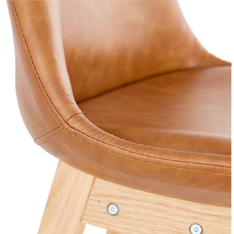 Tabouret de bar chaise de bar design DAIVY (marron clair) - image 37731