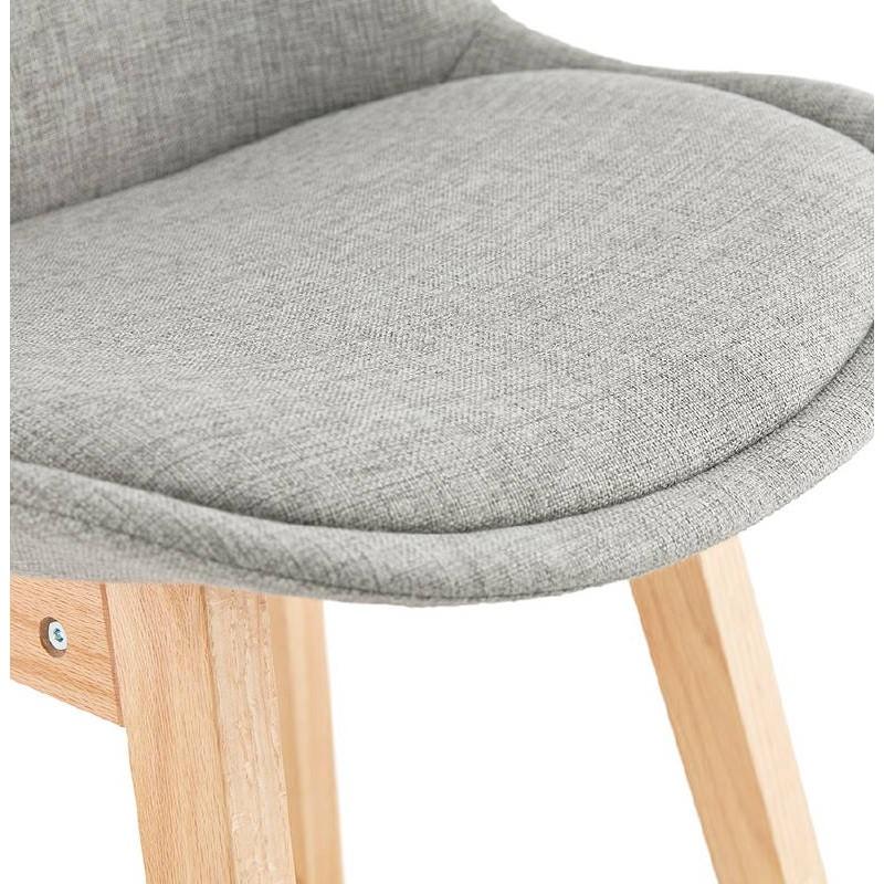 Tabouret De Bar Chaise Design Scandinave ILDA En Tissu Gris Clair