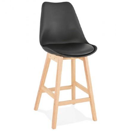 Tabouret de bar chaise de bar mi-hauteur design scandinave DYLAN MINI (noir)