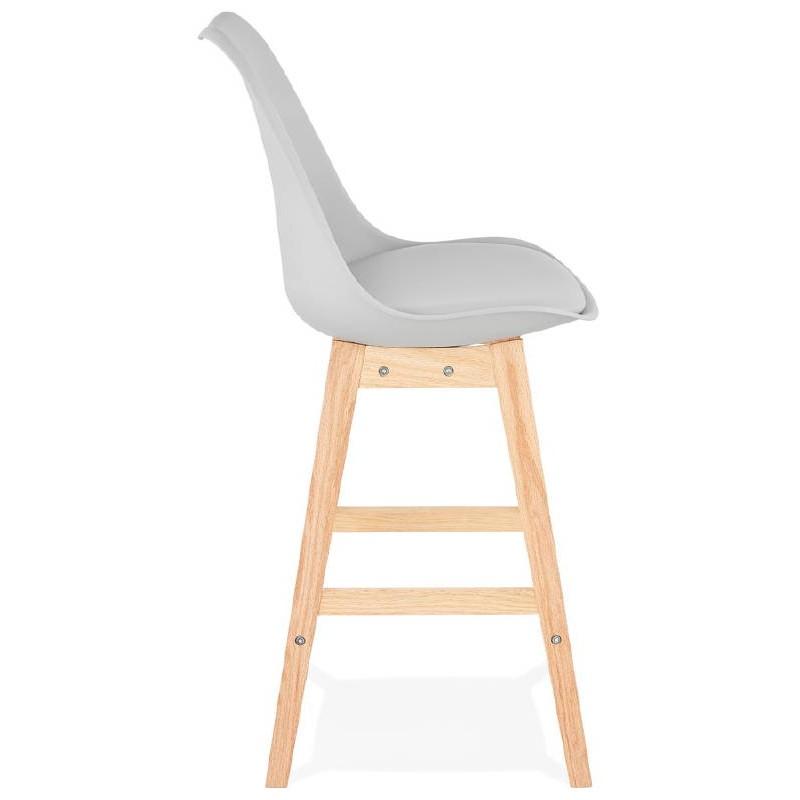 Tabouret De Bar Chaise Mi Hauteur Design Scandinave DYLAN MINI Gris Clair