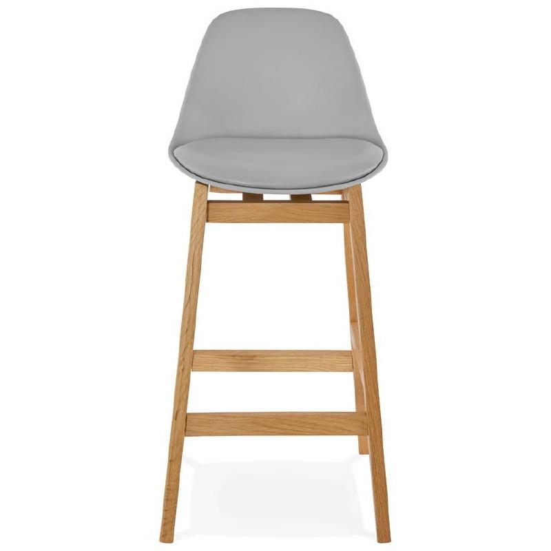 Tabouret de bar chaise de bar mi-hauteur design scandinave FLORENCE MINI (gris clair) - image 37813
