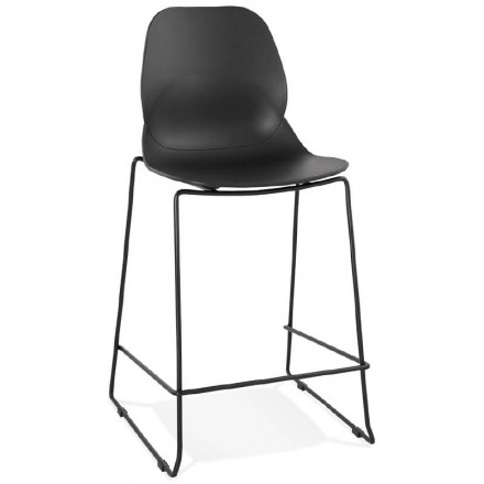 Silla de bar taburete industrial apilable media altura JULIETTE MINI (negro)