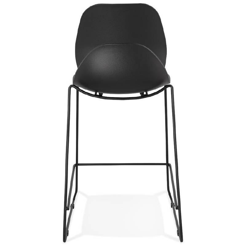 Tabouret de bar chaise de bar industriel mi-hauteur empilable JULIETTE MINI (noir) - image 37829