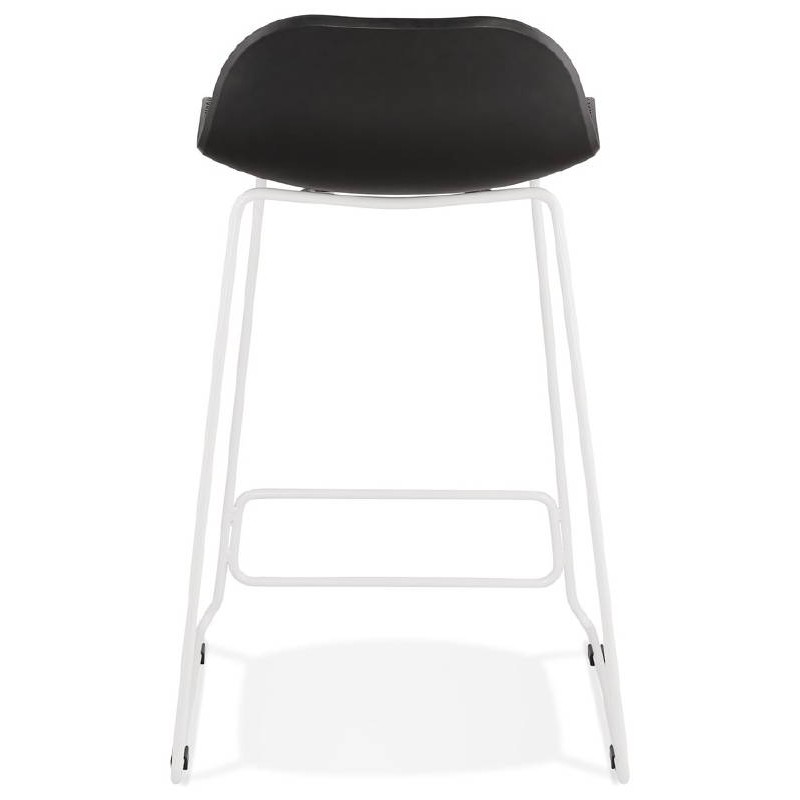 tabouret de bar chaise de bar mi hauteur design ulysse mini pieds m tal blanc noir. Black Bedroom Furniture Sets. Home Design Ideas