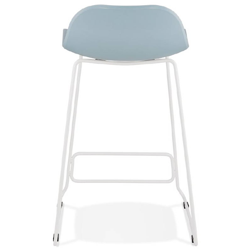 tabouret de bar chaise de bar mi hauteur design ulysse mini pieds m tal blanc bleu ciel. Black Bedroom Furniture Sets. Home Design Ideas