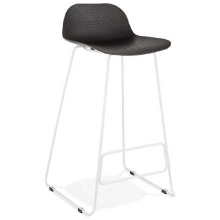 ULYSSE design bar chair barstool with white metal legs (black)