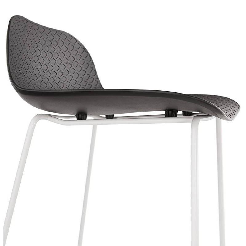 Tabouret De Bar Chaise Design ULYSSE Pieds Metal Blanc Noir