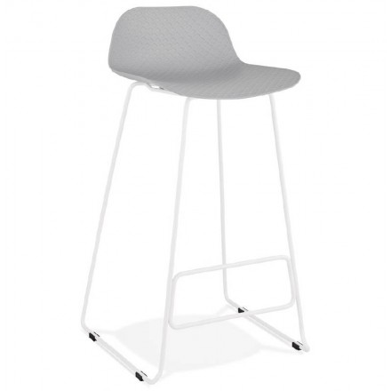 Bar stool barstool design Ulysses feet white metal (light gray)