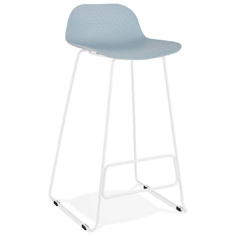 Tabouret de bar chaise de bar design ULYSSE pieds métal blanc (bleu ciel)