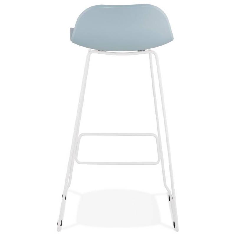 Tabouret de bar chaise de bar design ULYSSE pieds métal blanc (bleu ciel) - image 37972