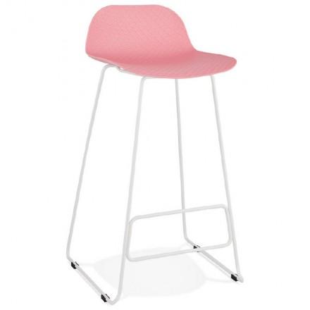 Bar taburete taburete de bar diseño Ulises pies blanco metal (polvo de color rosa)