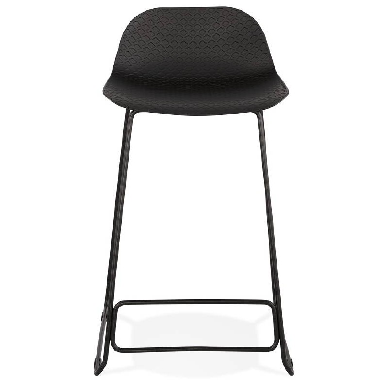 tabouret de bar chaise de bar mi hauteur design ulysse mini pieds m tal noir noir. Black Bedroom Furniture Sets. Home Design Ideas