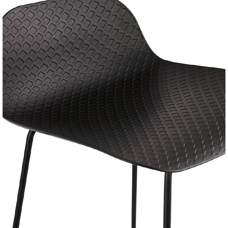 tabouret de bar chaise de bar mi hauteur design ulysse mini pieds m tal noir noir. Black Bedroom Furniture Sets. Home Design Ideas