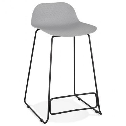 Tabouret de bar chaise de bar mi-hauteur design ULYSSE MINI pieds métal noir (gris clair)