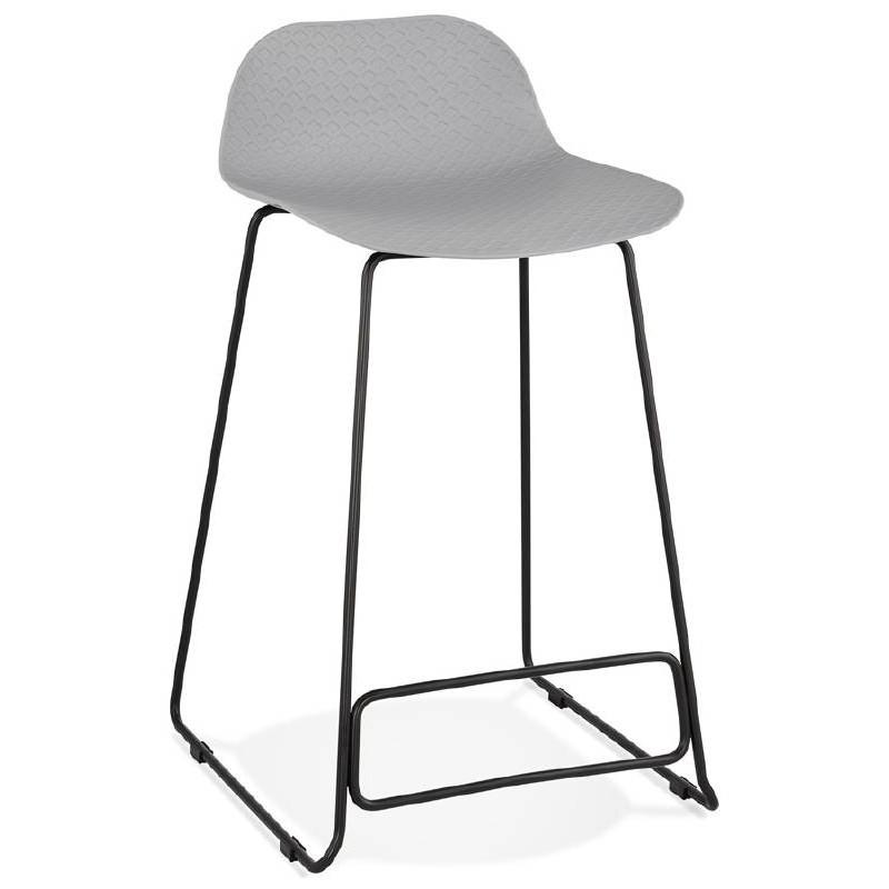 tabouret de bar chaise de bar mi hauteur design ulysse mini pieds m tal noir gris clair. Black Bedroom Furniture Sets. Home Design Ideas