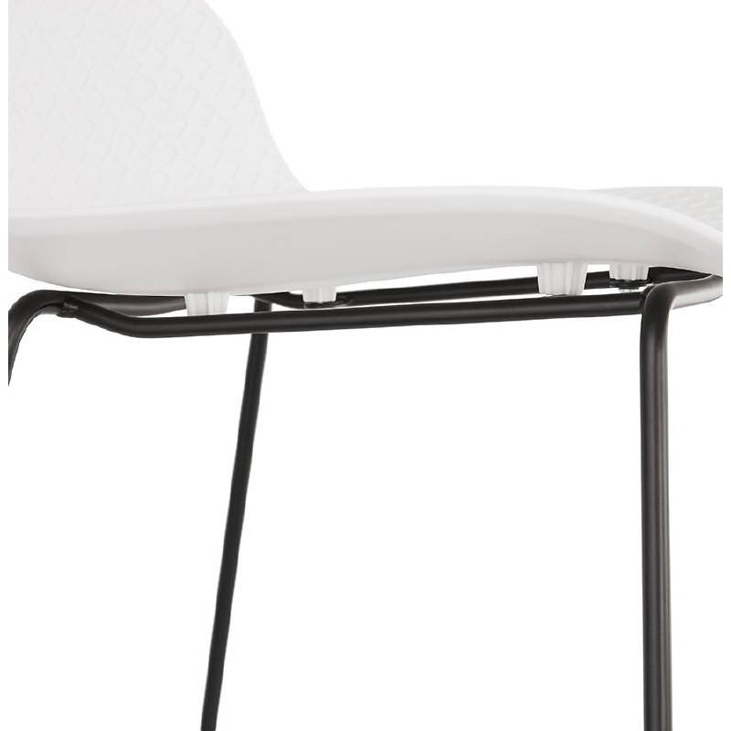 Tabouret De Bar Chaise De Bar Design Ulysse Pieds Metal Noir Blanc