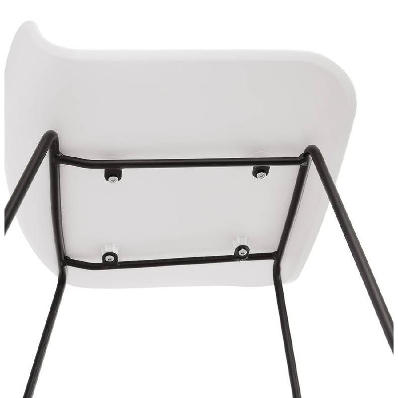 Tabouret De Bar Chaise Design ULYSSE Pieds Metal Noir Blanc