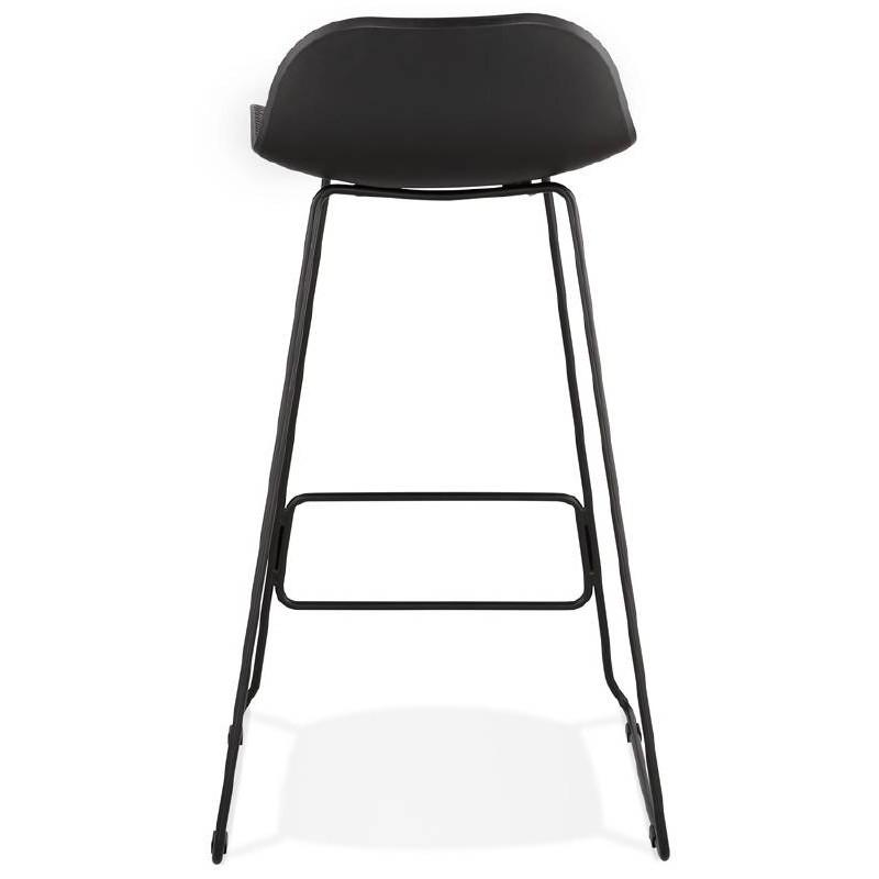 tabouret de bar chaise de bar design ulysse pieds m tal noir noir. Black Bedroom Furniture Sets. Home Design Ideas