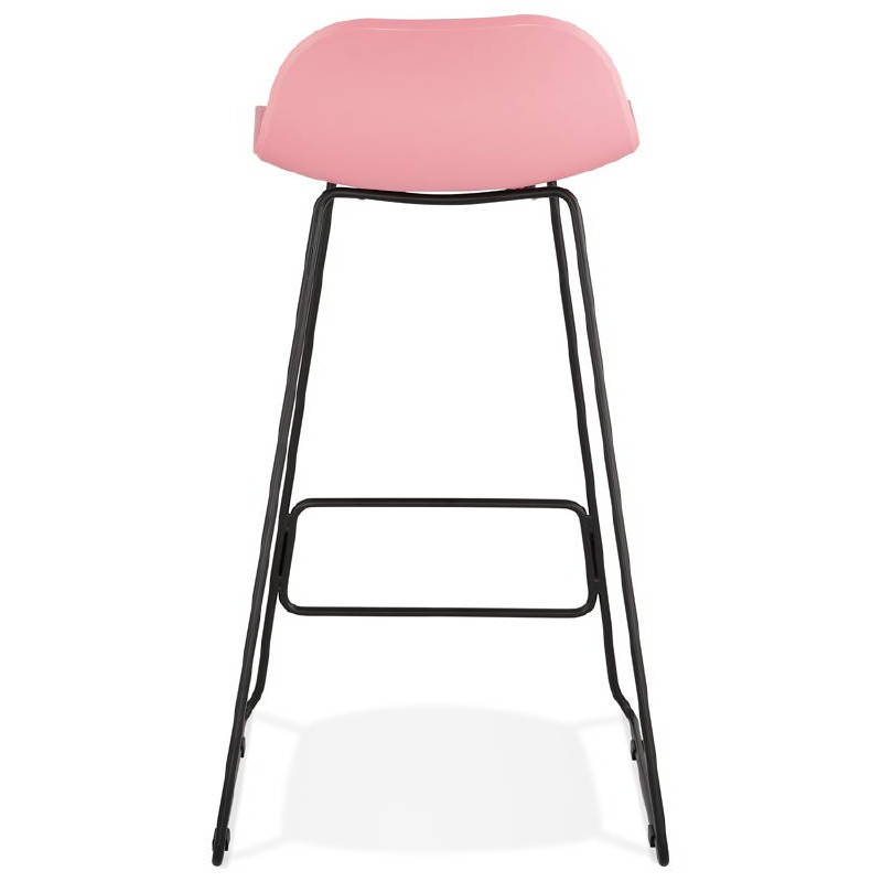 Bar taburete taburete de bar diseño metal de pies negro Ulises (polvo rosado) - image 38114