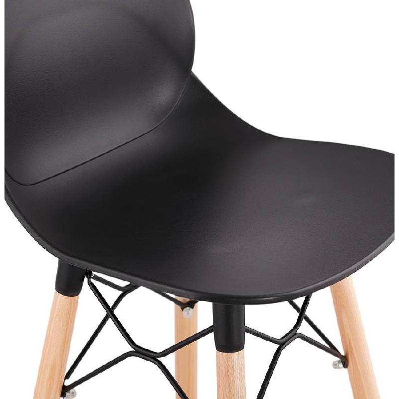 tabouret de bar chaise de bar mi hauteur scandinave paco noir. Black Bedroom Furniture Sets. Home Design Ideas