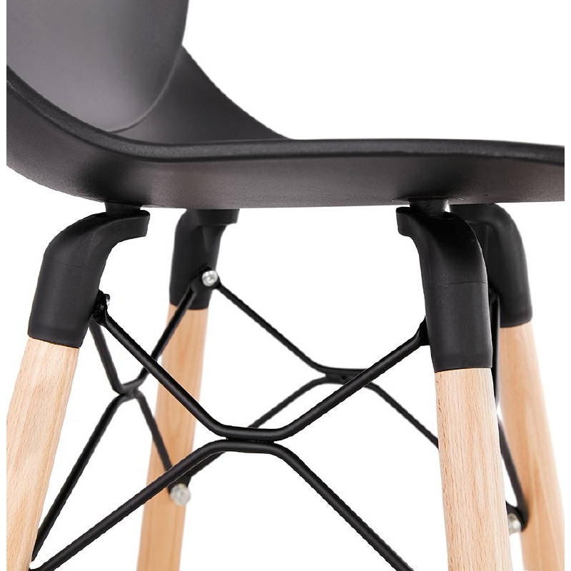 tabouret de bar chaise de bar mi hauteur scandinave paco noir. Black Bedroom Furniture Sets. Home Design Ideas