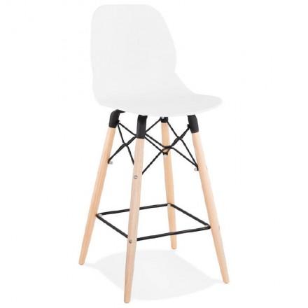 Tabouret de bar chaise de bar mi-hauteur scandinave PACO (blanc)