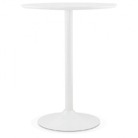 Table high high table LAURA design wooden feet metal (Ø 90 cm) (white)