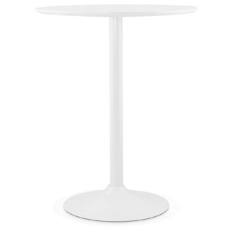 Table haute mange-debout design LAURA en bois pieds métal blanc (Ø 90 cm) (blanc) - image 38262