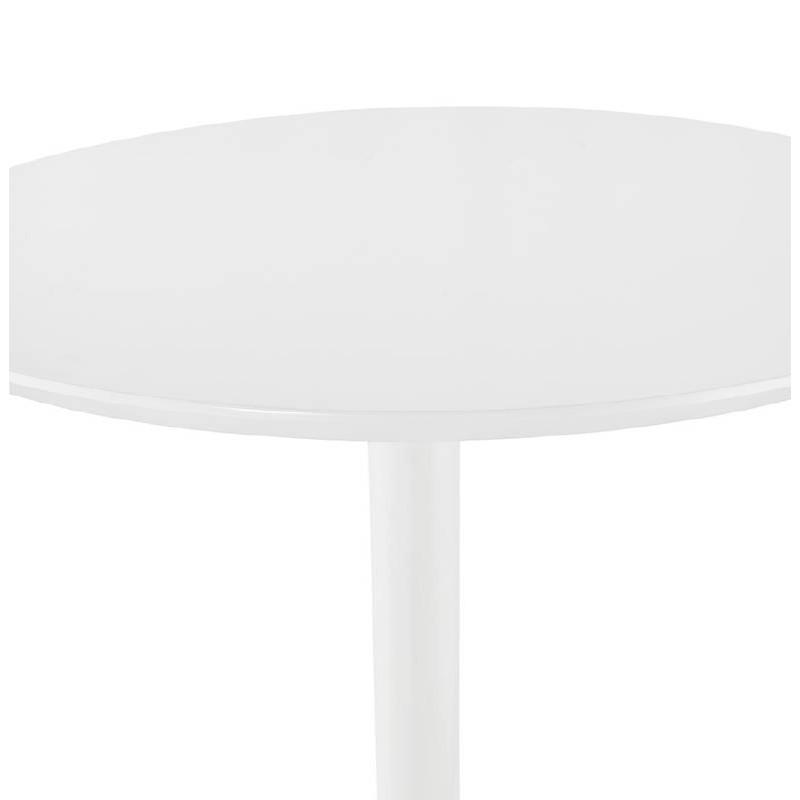 Table haute mange-debout design LAURA en bois pieds métal blanc (Ø 90 cm) (blanc) - image 38266