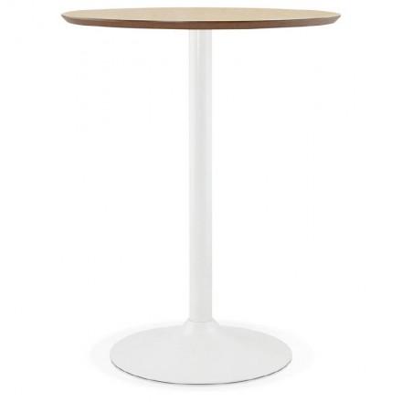 table haute mange debout design laura en bois pieds m tal blanc 90 cm finition ch ne naturel. Black Bedroom Furniture Sets. Home Design Ideas