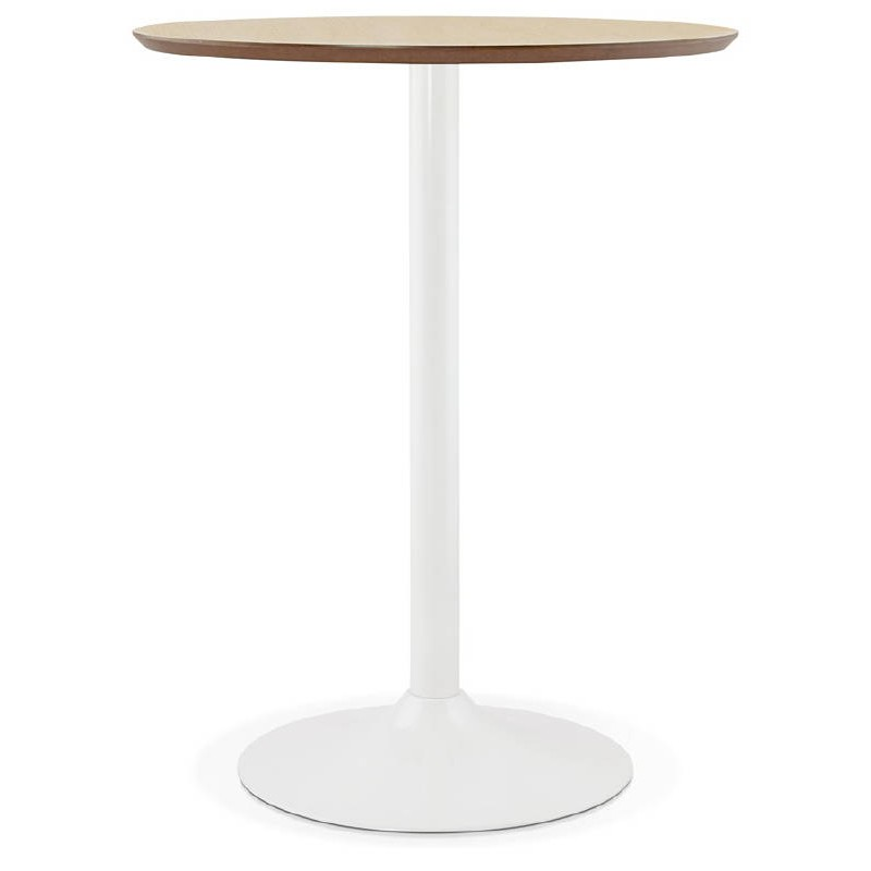 Table High High Table Laura Design Wooden Feet White Metal O 90