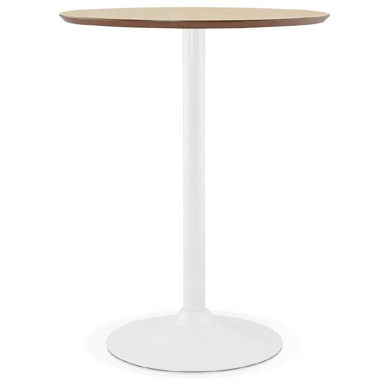 Table haute mange-debout design LAURA en bois pieds métal blanc (Ø 90 cm) (finition chêne naturel)