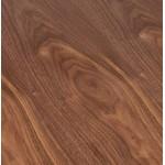 Table haute mange-debout design LAURA en bois pieds métal noir (Ø 90 cm) (finition noyer)