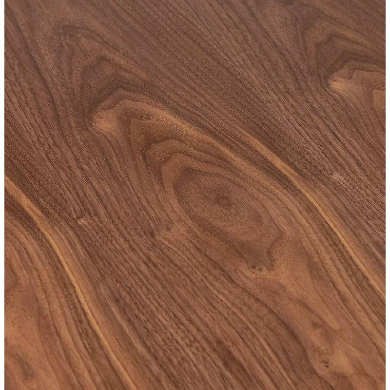 Table haute mange-debout design LAURA en bois pieds métal noir (Ø 90 cm) (finition noyer) - image 38288