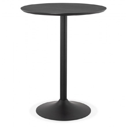 Table high high table LAURA design wooden feet (Ø 90 cm) black metal (black)