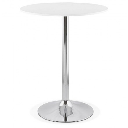 Table high high table LUCIE design wooden feet metal chrome (O 90 cm) (white)