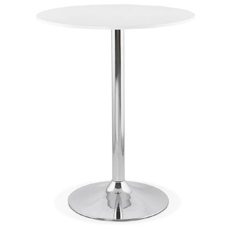 Table haute mange-debout design LUCIE en bois pieds métal chromé (Ø 90 cm) (blanc) - image 38299