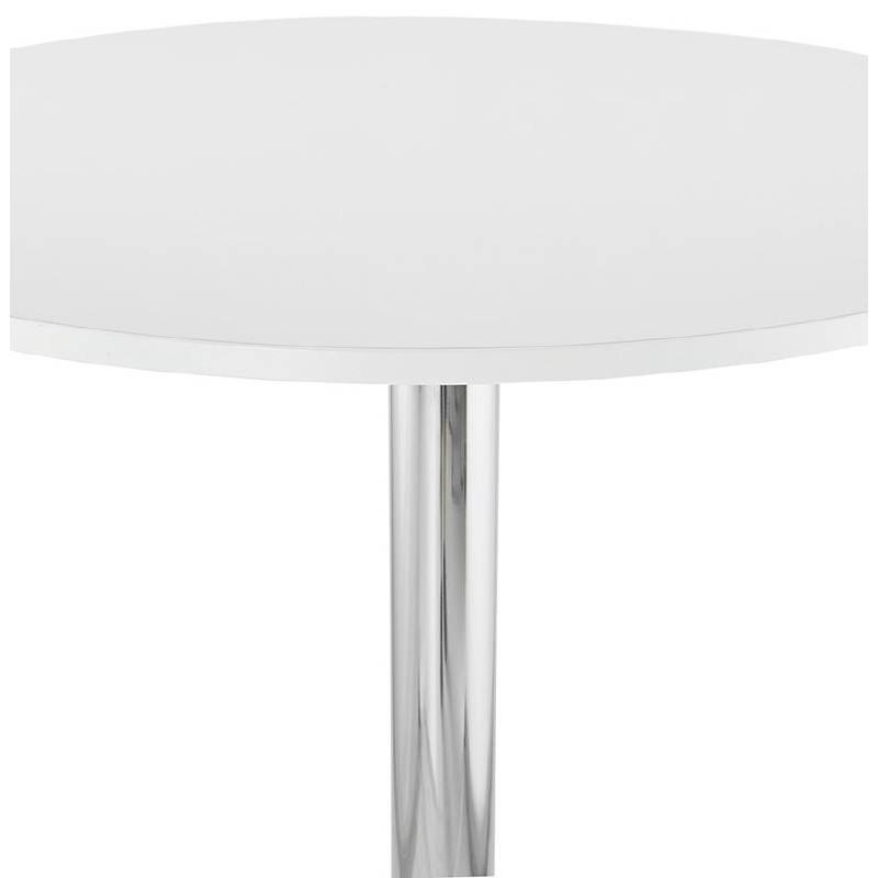 Table haute mange-debout design LUCIE en bois pieds métal chromé (Ø 90 cm) (blanc) - image 38301