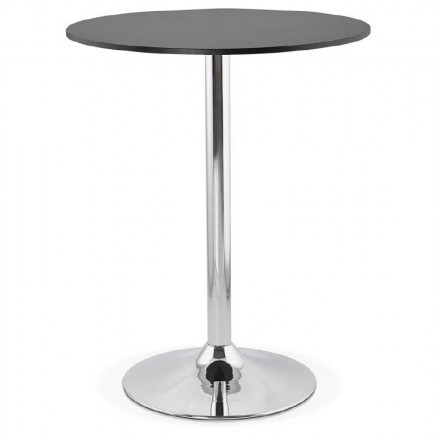 LUCIE design high bar table in wood chrome metal legs (Ø 90 cm) (black)