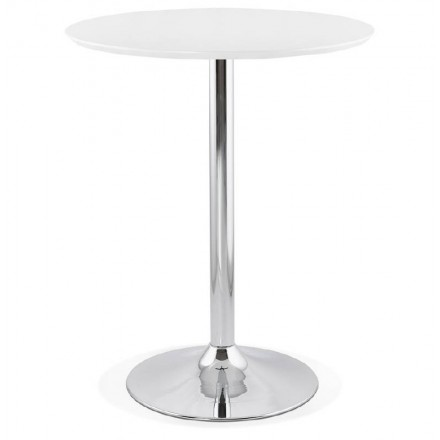 Table high high table LAURA design wooden feet metal chrome (O 90 cm) (white)