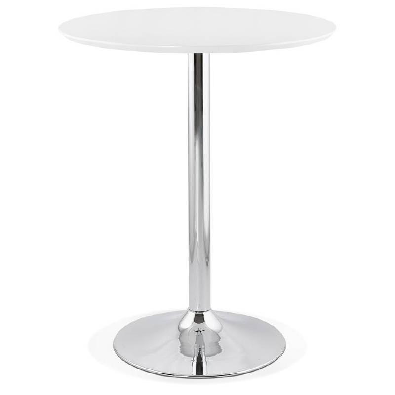 Table haute mange-debout design LAURA en bois pieds métal chromé (Ø 90 cm) (blanc)