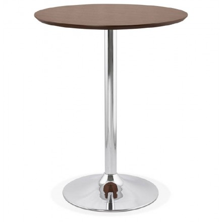Table high high table LAURA design wooden feet chrome metal (Ø 90 cm) (Walnut Finish)
