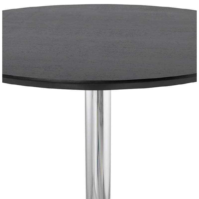 Table haute mange-debout design LAURA en bois pieds métal chromé (Ø 90 cm) (noir) - image 38327