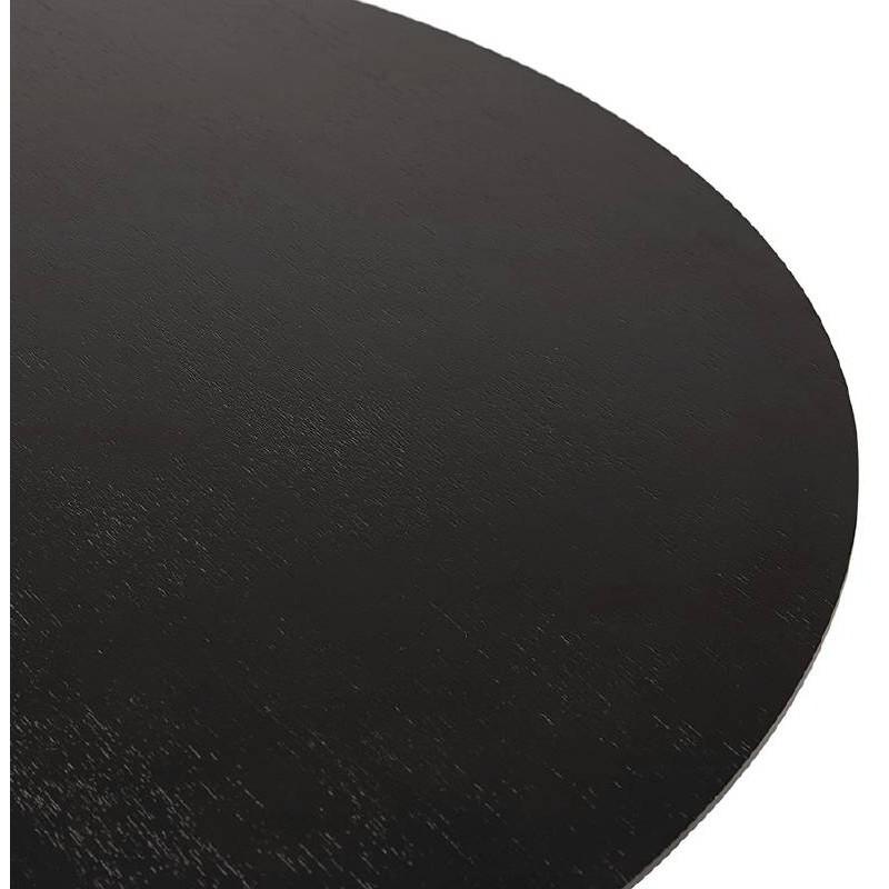 Table haute mange-debout design LAURA en bois pieds métal chromé (Ø 90 cm) (noir) - image 38328