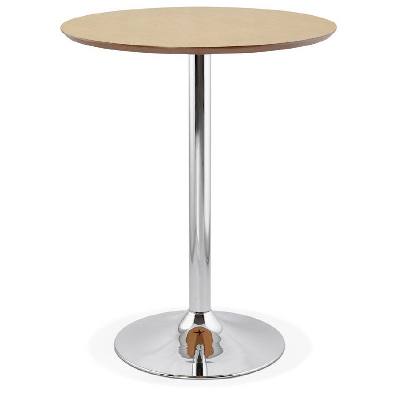 Mesa alta alta diseño LAURA pies madera cromo metal (Ø 90 cm) (acabado roble natural)