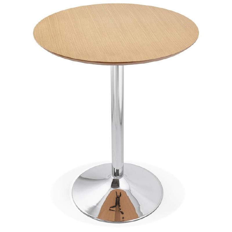 Table haute mange-debout design LAURA en bois pieds métal chromé (Ø 90 cm) (finition chêne naturel) - image 38501