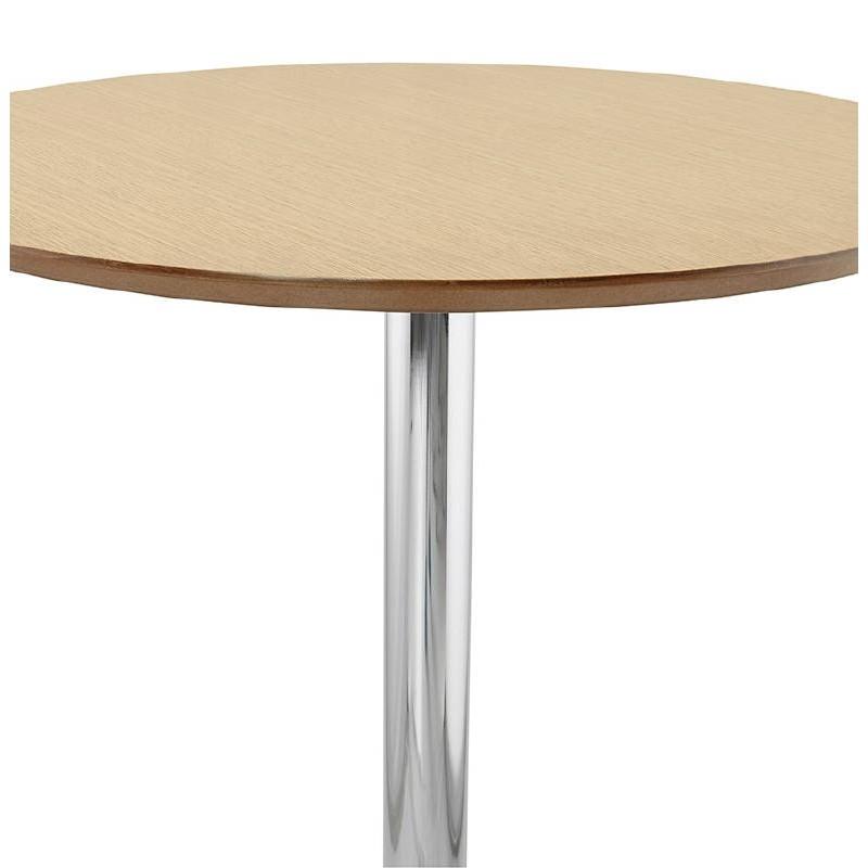 Table haute mange-debout design LAURA en bois pieds métal chromé (Ø 90 cm) (finition chêne naturel) - image 38502