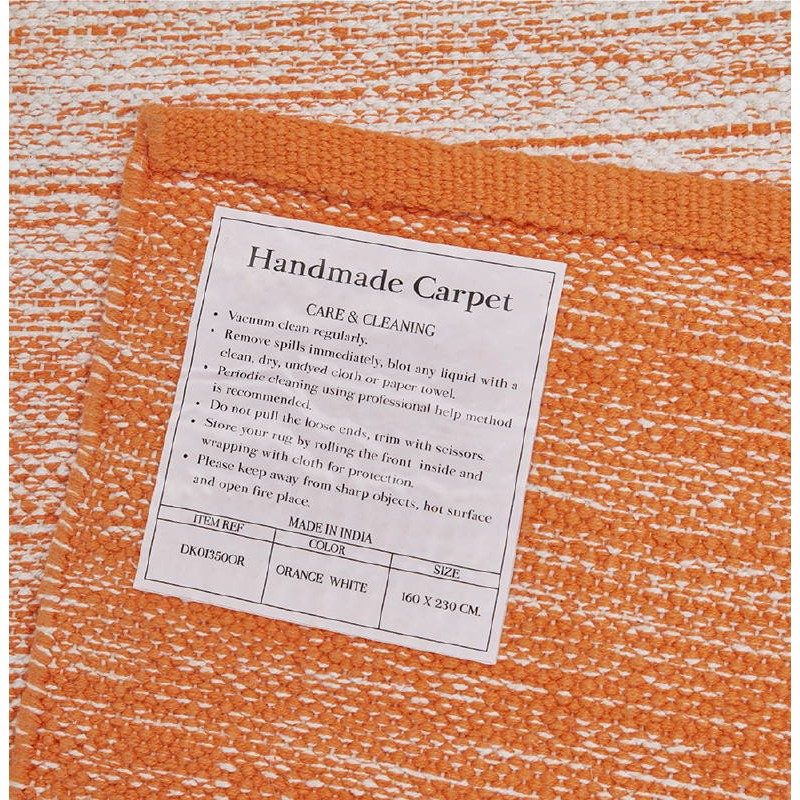 Tapis design rectangulaire (230 cm X 160 cm) BASILE en coton (orange) - image 38538